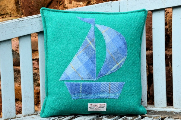 Harris Tweed Cushion Jade Sail Boat