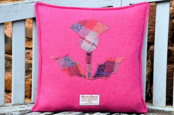 Harris Tweed Cushion Pink Thistle