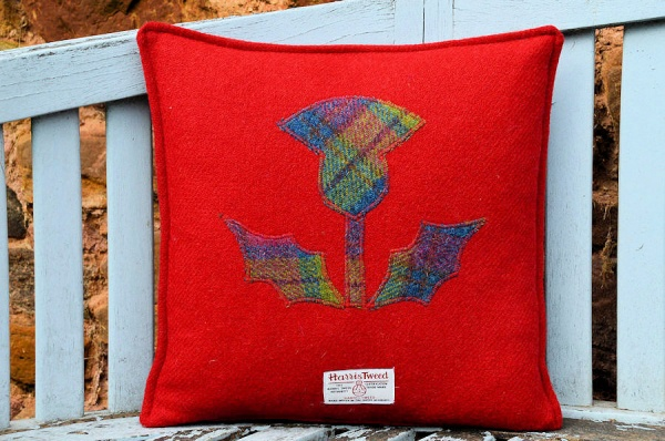 Harris Tweed Cushion Red Thistle