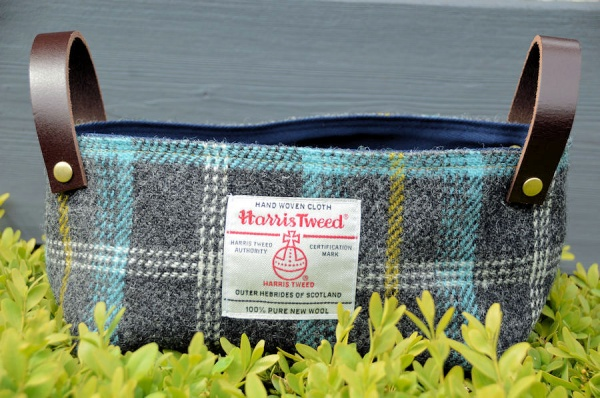 Harris Tweed Basket Duck Egg Blue Tartan