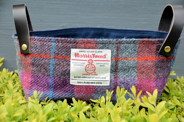 Harris Tweed Basket Dark Raspberry Tartan