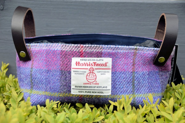 Harris Tweed Basket Purple Blue Pink Tartan