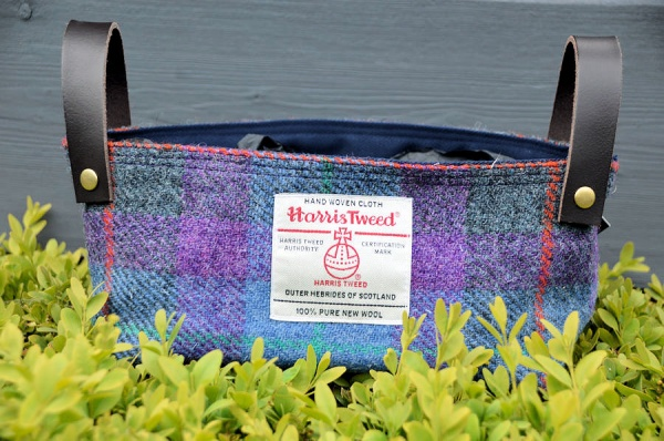 Harris Tweed Basket Purple Tartan