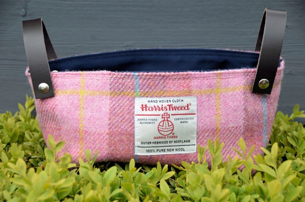 Harris Tweed Basket Rose Pink Tartan