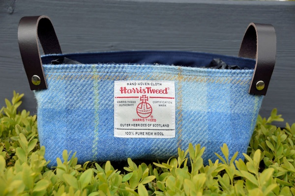 Harris Tweed Basket Sky Blue Tartan