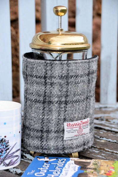 Harris Tweed Cafetiere Wrap Grey Black Tartan