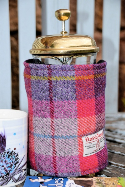 Harris Tweed Cafetiere Wrap Light Raspberry Tartan