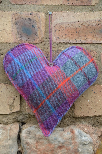 Harris Tweed Large Heart Dark Raspberry Tartan