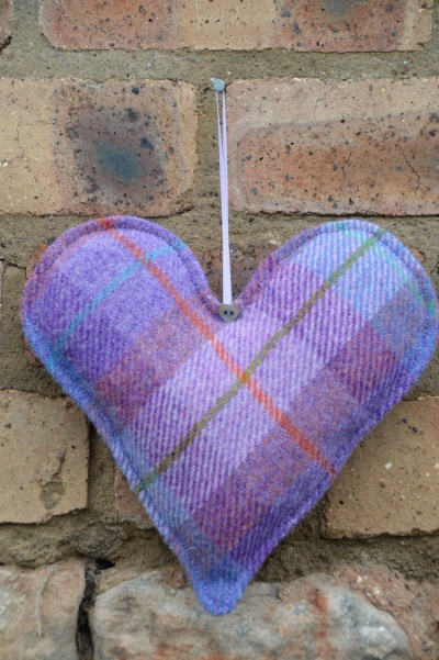 Harris Tweed Large Heart Lavender Tartan
