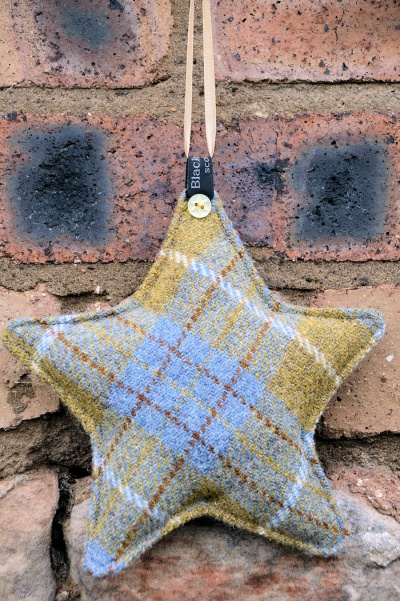 Harris Tweed Star Mustard Blue Tartan
