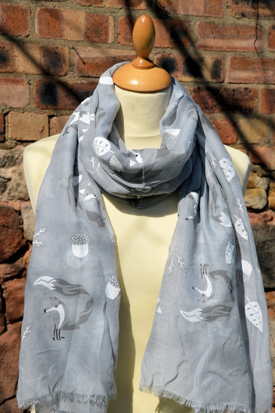 Fox Print Scarf Grey