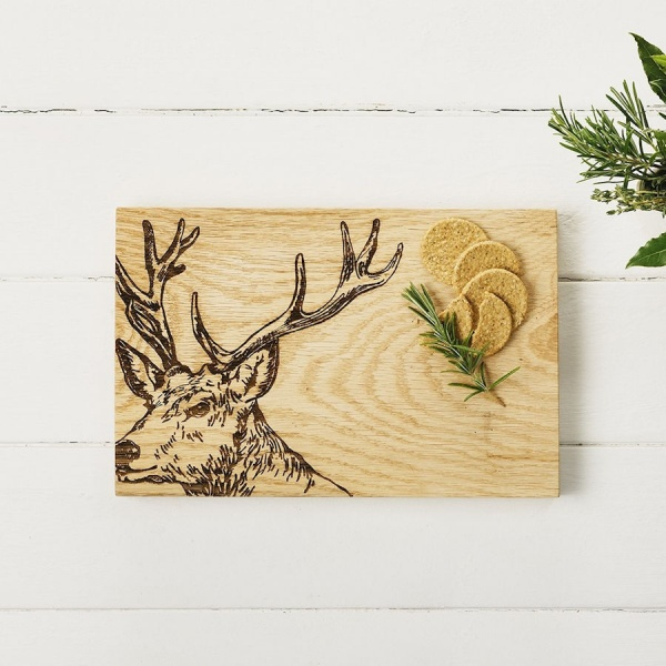 Scottish Oak Serving Board - Stag