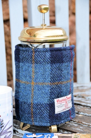Harris Tweed Cafetiere Wrap Navy Tartan