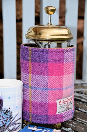 Harris Tweed Cafetiere Wrap Pink Purple Tartan