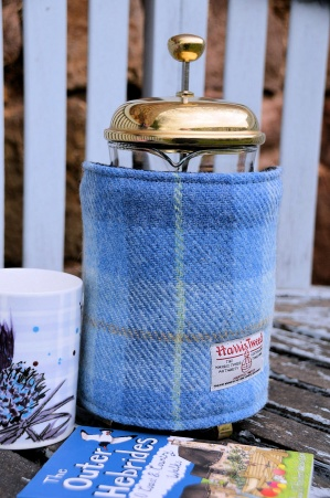 Harris Tweed Cafetiere Wrap Sky Blue Tartan