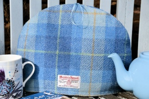 Harris Tweed Tea Cosy Sky Blue Tartan