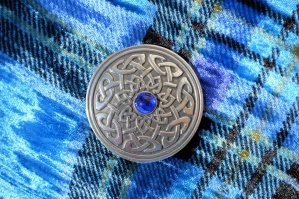 Celtic Shield Brooch Blue